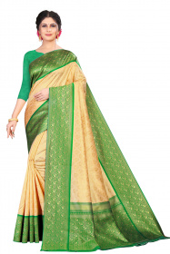 DD 161 Green Chickoo Colour Gold Zari Silk Saree
