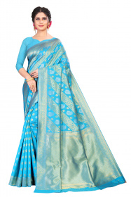 DD 166 gorgeous blue kanchipuram silk saree