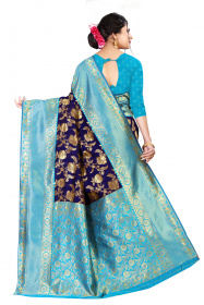 DD 172 N.Blue Firozi Soft silk saree