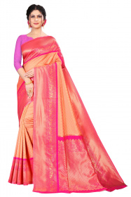 DD 173 dark pink gold zari Soft silk saree