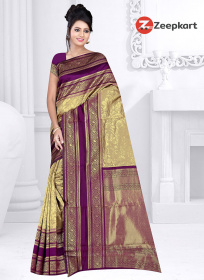 ZK Wine & Gray Colour Soft Silk Saree