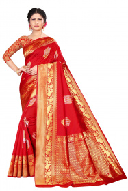 DD 177 Red Zoomer Silk Saree