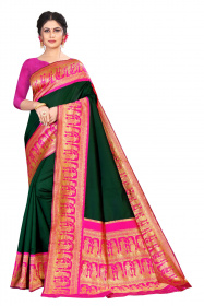 DD 181 Green Pink Silk Saree
