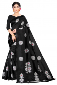DD 184 Jet Black Banarasi Silk Saree