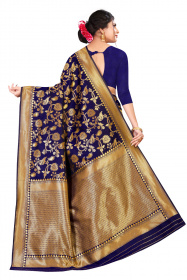 DD 185 royal blue and champagne gold Georgette Silk Banarasi saree