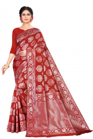 DD 187 Red mastared and champagne silwer Georgette Silk Banarasi saree