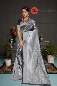 ZK Black  Colour Lichi Silk Saree