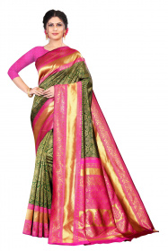 DD 190 Emerald Green Kanjivaram Silk Saree & pink gold zari border