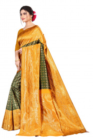 DD 191 Dark spring green & mustard yellow Kanchipuram silk saree