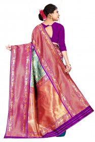 DD 195 Blue Purple colour Kanchipuram silk saree