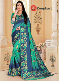 ZK N.blue & Rama Colour Lichi Silk Saree
