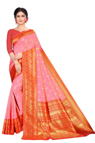 DD 199 pink body kumkum red border colour  Kanchipuram silk saree