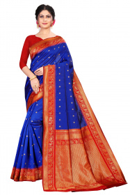DD 201 BLUE AND RED COLOR  Kanchipuram silk saree