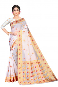 DD 203 WHITE COLOR  Kanchipuram silk saree