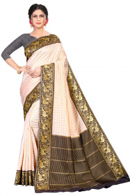DD 204 Off White Black Colour  Kanchipuram silk saree