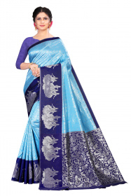 DD 206 Blue Colour  Kanchipuram silk saree