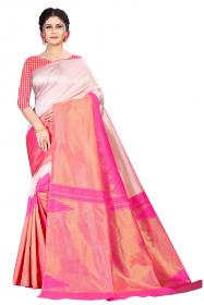 DD 210 White Pink Colour Kanchipuram Silk Saree
