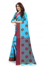 DD1003 Sky Blue Colour Dyed Kanchivaram Silk Saree