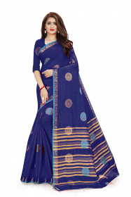 DD1033  Dark Blue Dyed Colour Kanchipuram Silk Saree