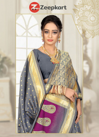 ZK Gray & Wine Colour Soft Silk Saree