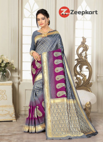ZK Gray & Wine Colour Lichi Silk Saree