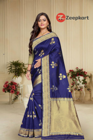 ZK N.Blue Full Colour Woven Silk Saree