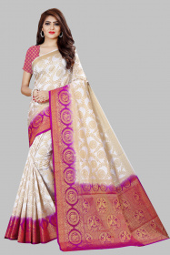 DD2052 White Purple Colour Dyed Kanchipuram Silk Saree