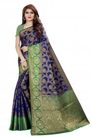 DD2054 Blue Green Colour Dyed Kanchipuram Silk Saree