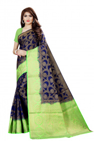 DD2055 Blue Light Green Colour Dyed Kanchipuram Silk Saree