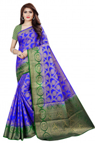 DD2056 Royal Blue  Green Colour Dyed Kanchipuram Silk Saree