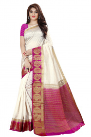 DD4023 White Purple Colour Dyed Kanchipuram Silk Saree