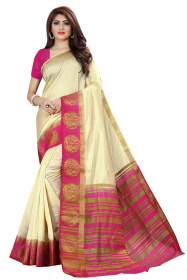 DD4031 Cream Pink Colour Dyed Kanchipuram Silk Saree