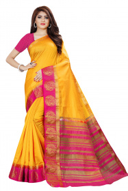 DD4035 Gold Pink Colour Dyed Kanchipuram Silk Saree