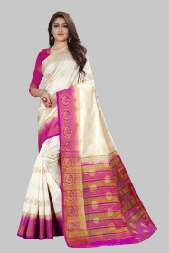 DD3003 White Colour Nylon Dyed Kanchipuram Silk Saree