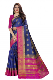 DD3004 Blue Colour Nylon Dyed Kanchipuram Silk Saree