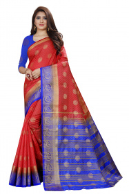 DD3005 Red Blue Colour Nylon Dyed Kanchipuram Silk Saree