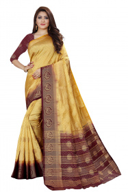 DD3006 Chikoo Colour Nylon Dyed Kanchipuram Silk Saree