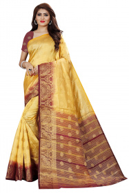 DD3013 Cream Colour Nylon Dyed Kanchipuram Silk Saree