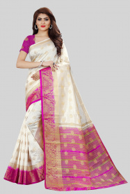 DD3014 White Pink Colour Nylon Dyed Kanchipuram Silk Saree