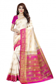 DD3025 White Pink Colour Nylon Dyed Kanchipuram Silk Saree