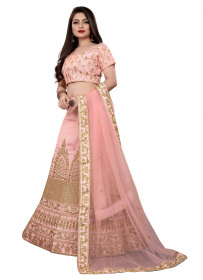 Peach Colored Dupatta Partywear Embroidered Lehenga Choli LC02