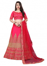 Pink Embroidered Party Wear Malay satin With Stone work Lehenga LC 03