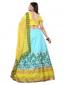 Blue and Yellow Colored Satin Lehenga Choli With Embroidery Work LC 13