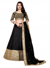 Black Partywear Embroidered Malay satin Material Lehenga Choli LC 207