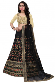 Black Partywear Embroidered Malay satin Material Lehenga Choli LC 208