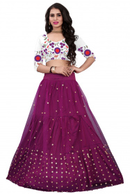 Purple White Blouse Embroidered Party Wear Lehenga Choli LC 247