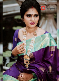 ZK C. Green And Purple Body Colour Soft Silk Saree