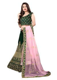 Drasty Green Embroidered Party Wear Malay satin Stone Lehenga LC 282