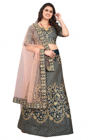 Grey Bridal Velvet material Lehenga Choli With Embroidery Work LC 284