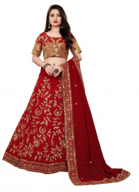 Maroon Party wear Embroidered Malay Satin Silk Lehenga Choli LC 287